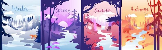 사계절 개념 그림. 겨울, 봄, 여름, 가을 구성. 다른 시간에 한 지역의 다채로운 클립 아트. 작은 강, 나무, 태양 및 동물과 자연.