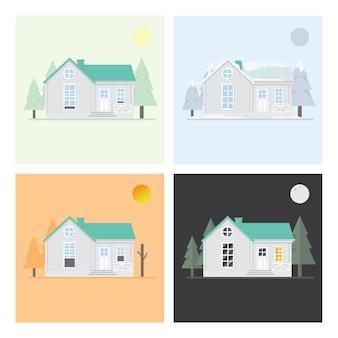 Четыре сезона дома летний, сухой сезон, зима и ночь .flat векторы дизайн фона
