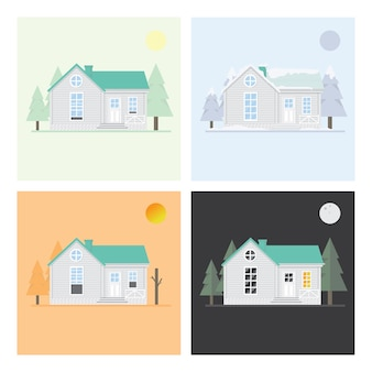 Four seasons house summer,dry season,winter and night .flat vectors design background