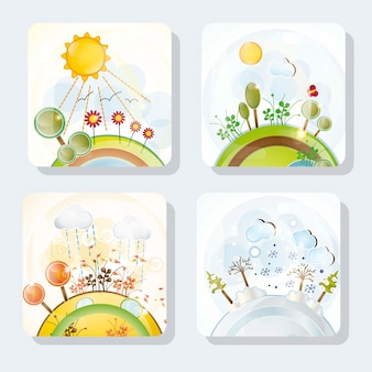 Four seasons icons with beautiful landscapes set