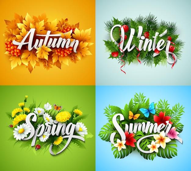 Набор надписи four seasons