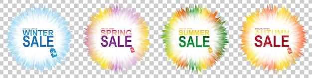사계절 판매 배너 투명 배경에 설정합니다. 겨울, 봄, 여름, 가을 배너 세트.