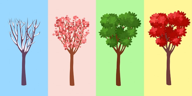 Four seasons tree. winte. spring. summer. autumn. vector illustration.