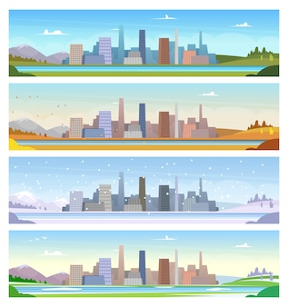 Four seasons. urban landscape weather of summer winter spring and autumn  cartoon ilustrations