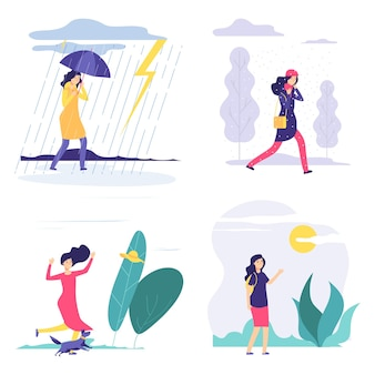 Четыре сезона. женщина различные погодные иллюстрации. вектор осень лето зима весна концепция с плоской девушкой. четвертый сезон, девушка под дождем или снегом