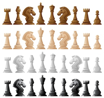 Four set of chess pieces illustration