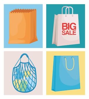Четыре сумки для покупок и т. д.