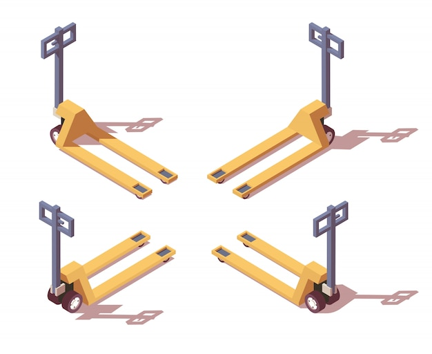 Four side views pallet jack with different shadows.