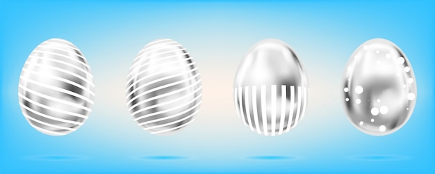 Four silver eggs on the sky blue background