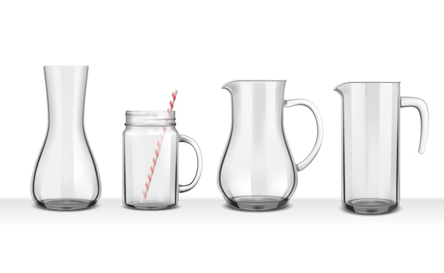Four smooth glass realistic jugs and carafes of various shapes on white
