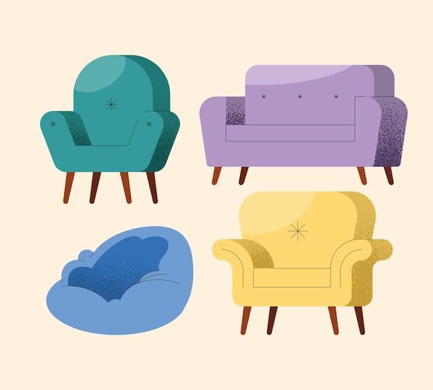 Four sofas furniture set icons