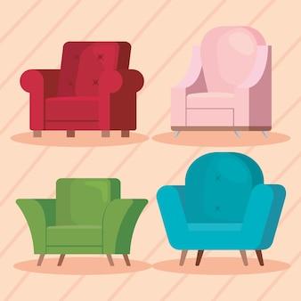 4つのソファのリビングルーム
