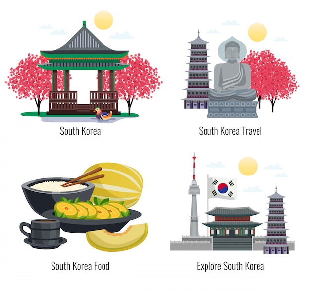 Four south korea tourism compositions with text captions and images of traditional food buildings and memorials  illustration