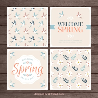 Four spring cards in vintage style