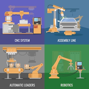 4つの正方形の自動組立アイコンセットcncシステムアセンブリライン自動ローダーとロボットベクトルイラストの説明