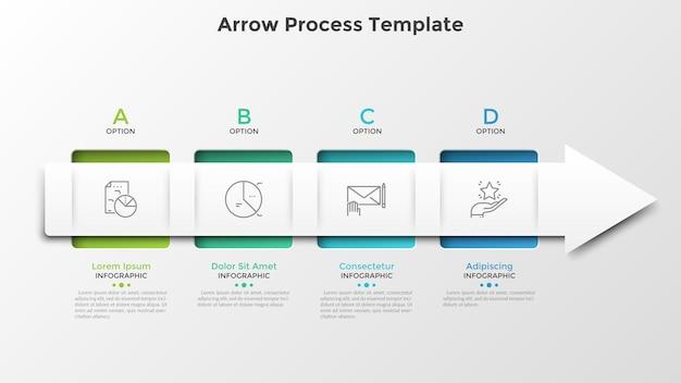 Четыре квадратных элемента, соединенных стрелкой. горизонтальная временная шкала с 4 шагами или стадиями. шаблон оформления инфографики. векторная иллюстрация для визуализации процесса развития бизнеса, индикатор выполнения.