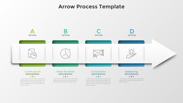 Four square elements connected by arrow. horizontal timeline with 4 steps or stages. infographic design template. vector illustration for business development process visualization, progress bar.