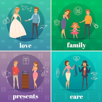 Four square flat trying shop flat people concept with love family presents and care descriptions vector illustration