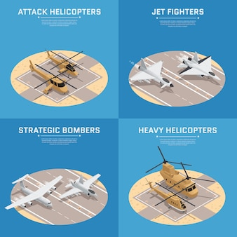 Four square isometric military air force icon set