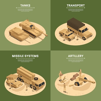 Four square military vehicles isometric icon set