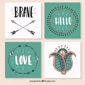 Four square postcards in boho style