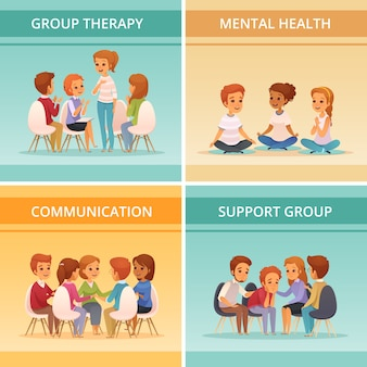 Four squares cartoon group therapy icon set with mental health communication and support group descriptions