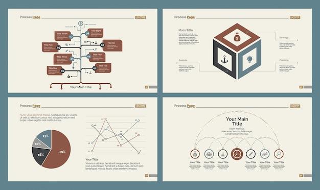 Four statistics charts slide templates set