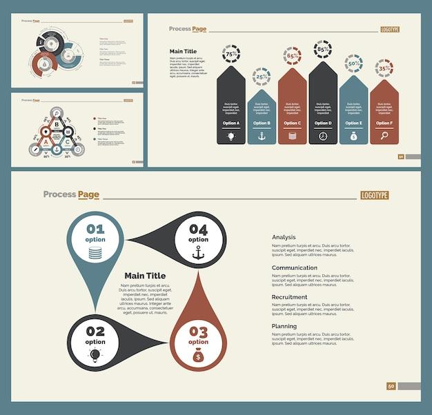 4つの統計チャートスライドテンプレートセット