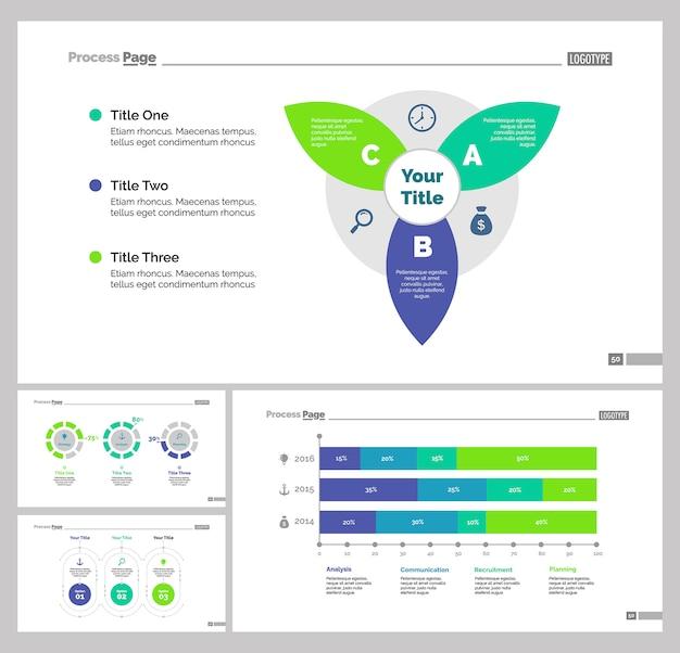 Four statistics slide templates set