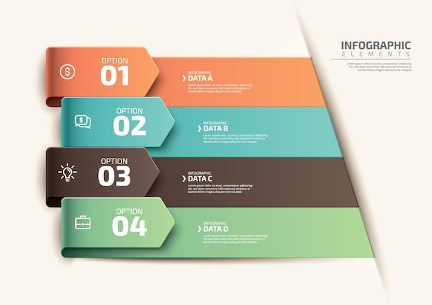 4 단계 그라데이션 현실적인 다채로운 단계 타임 라인 infographic 템플릿 디자인