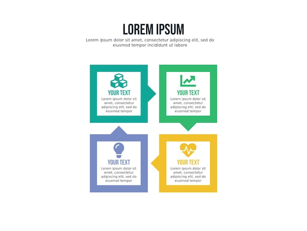 Four step infographic element and presentation template