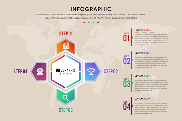 Four step of infographic template. hexagon arrow element designs. can be used for workflow layout. transparency world map on brown background.