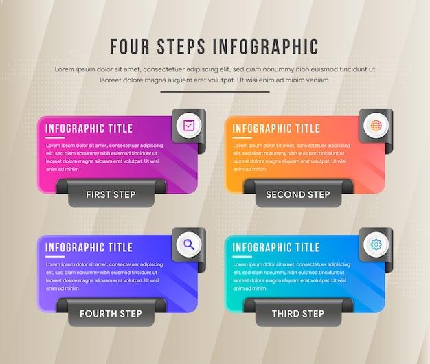 長方形のレイアウトの4ステップのインフォグラフィック。 3dペーパーフォールドスタイルは、黒い色とカラフルなグラデーションの組み合わせを使用します。