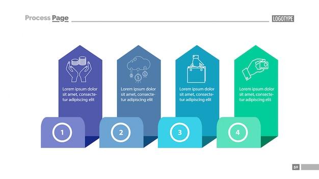 Four step process chart slide template