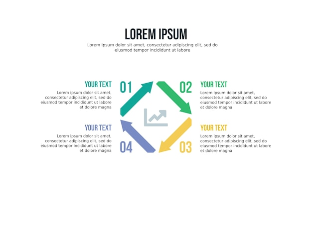 Four step square infographic element and presentation template