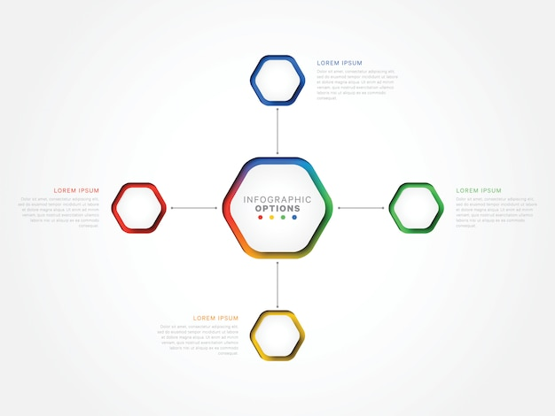 Four steps 3d infographic template with hexagonal elements. business process template with options for brochure, diagram, workflow, timeline, web