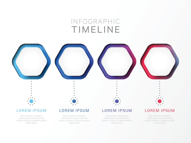 Four steps 3d infographic template with hexagonal elements.