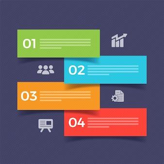 Четыре шага бизнес-инфографических баннеров или этикеток.