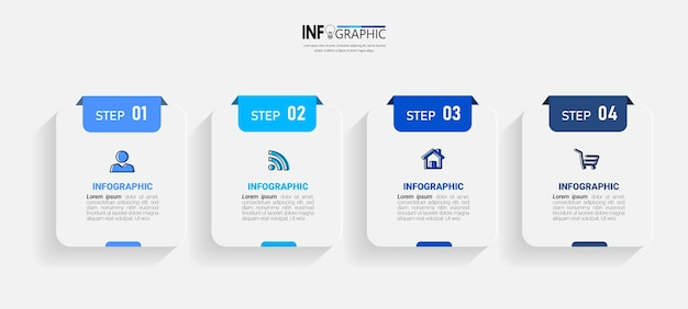 Four steps business infographics