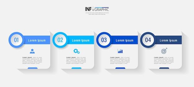 4 단계 비즈니스 인포 그래픽