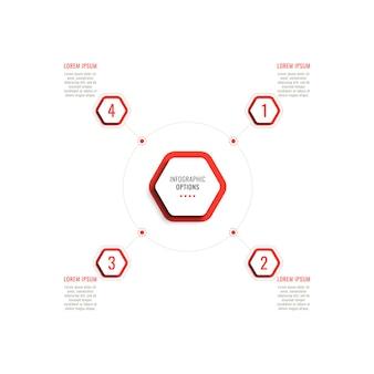 白い背景の上の赤い六角形の要素を持つ4つのステップの円形のインフォグラフィックテンプレート