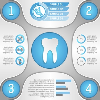Four steps to healthy teeth infographic template vector illustration