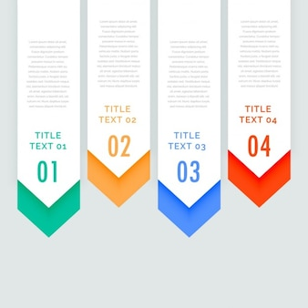 Four steps infographic banners with arrow going down