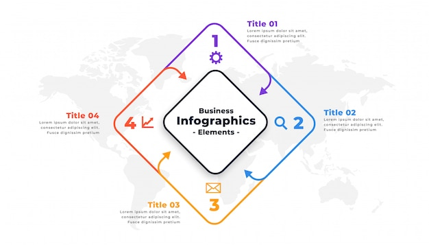 Four steps infographic report presentation template design