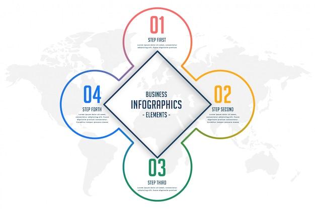 Четыре шага линии стиля инфографики шаблон