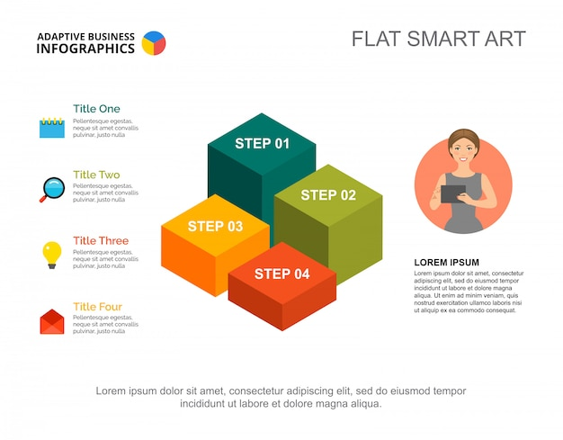 Four steps list process chart template for presentation. business data. diagram, graphic
