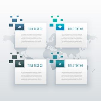 ビジネスプレゼンテーションやワークフローのレイアウト図のため、4つのステップオプションインフォグラフィックテンプレート