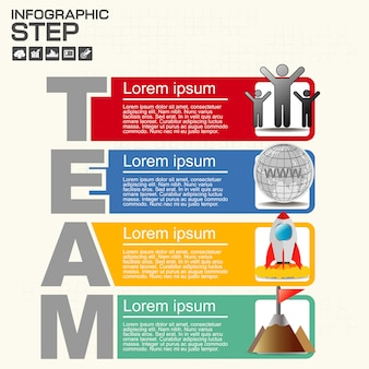 Four steps of team infographics report