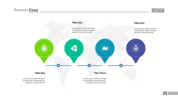 Modello di diagramma temporale timeline a quattro passaggi. dati aziendali grafico, grafico