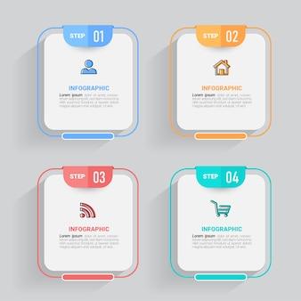 Дизайн инфографики временной шкалы в четыре этапа